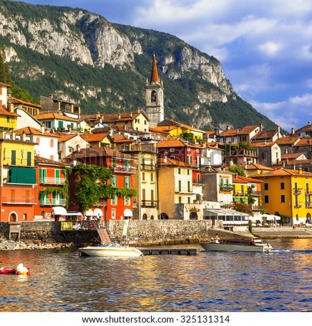 scenic Lago di Como - Varenna village, north of Italy - stock photo