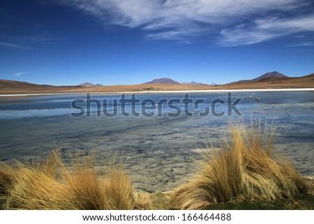 Scenic lagoon in Bolivia, South America Laguna de Canapa, Bolivia - stock photo