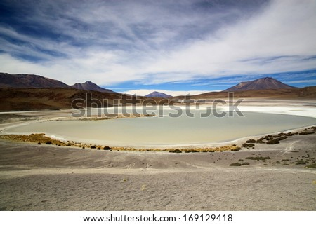 Scenic lagoon in Bolivia, South America  Laguna Honda - stock photo