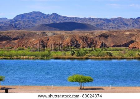 Scenic landscape at Lake Havasu city in Arizona - stock photo