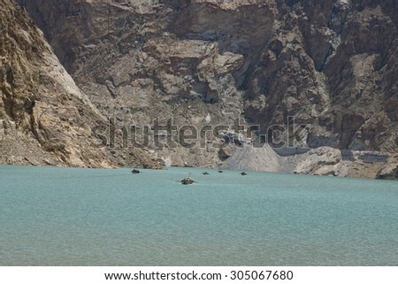 Scenic landscape - Atabad Lake - Naturally formed after an earthquake and Landslides - stock photo