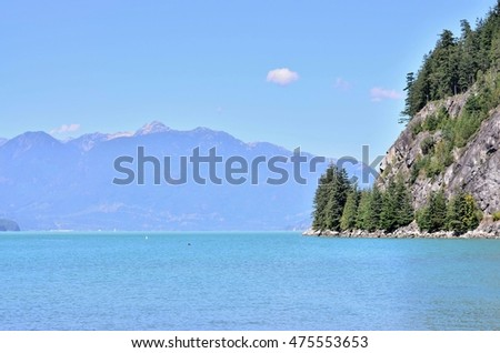 scenic landscape for ocean and lake scenery on sunny day