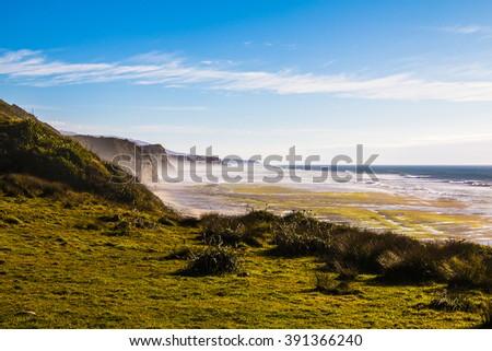 Scenic landscape in Anatori, New Zealand - stock photo