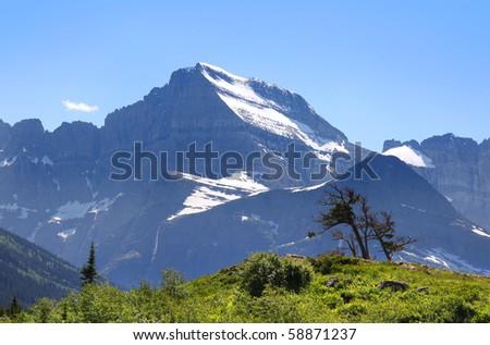 Scenic landscape in Glacier national park Montana - stock photo
