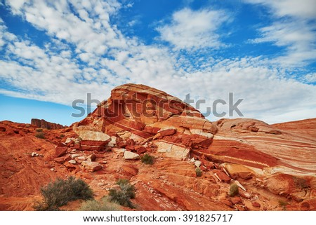 Scenic landscape in Valley of the Fire national park in Nevada, USA
