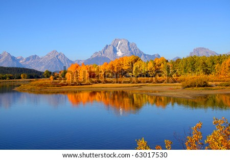 Scenic landscape of Grand tetons national park from Oxbow bend - stock photo