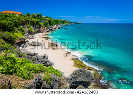 Scenic landscape of high cliff on Tropical beach / Bali, Indonesia - stock photo
