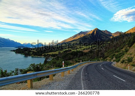 Scenic landscape of Lake Wakatipu in New Zealand - stock photo