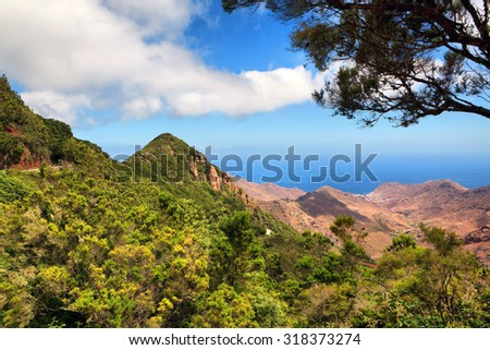 scenic landscape of mountain valley with blue sky (Tenerife, Canary islands, Spain) - stock photo