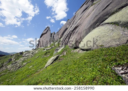 scenic landscape Turtle Mountain in the mountain Ergaki Western Sayan on a sunny summer day - stock photo