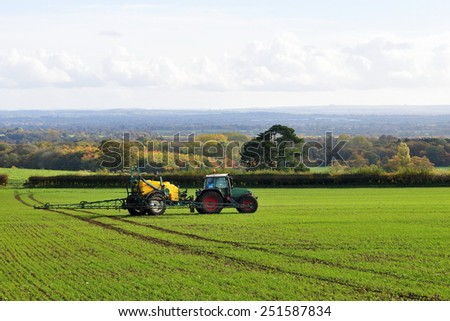 Scenic Landscape View of Farmland in Wiltshire England  - stock photo