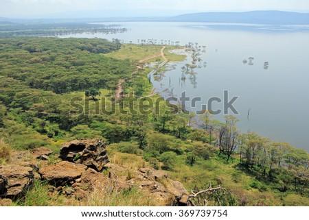 Scenic landscape view of Lake Nakuru National Park, Kenya - stock photo