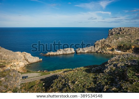 Scenic landscape with a beach at Lindos, Rodos, Greece