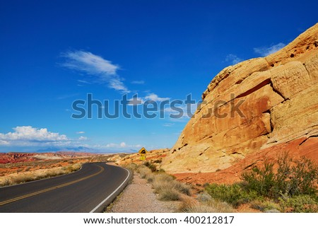 Scenic landscape with winding road in Valley of the Fire  in Nevada, USA