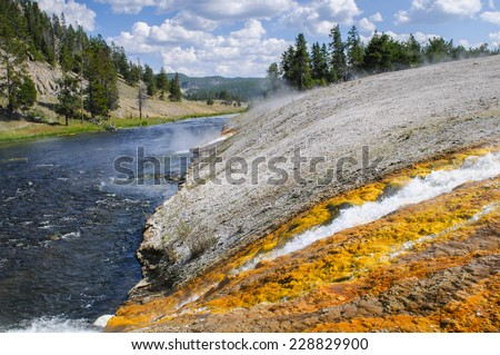 Scenic Landscapes of Geothermal activity of Yellowstone National Park USA - Midway Geyser Basin - stock photo