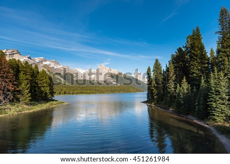 Scenic Maligne Lake Jasper National Park Alberta Canada - stock photo
