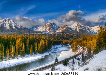 Scenic Morant's Curve in winter, Banff National Park, Alberta Canada - stock photo
