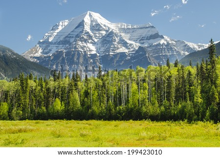 Scenic Mount Robson in the Canadian Rocky Mountains, near Jasper National Park, Alberta - stock photo