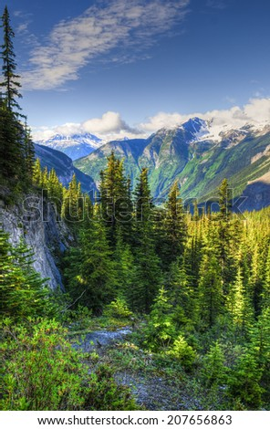 Scenic mountain hiking views, Berg Lake Trail, Mount Robson Provincial Park British Columbia Canada