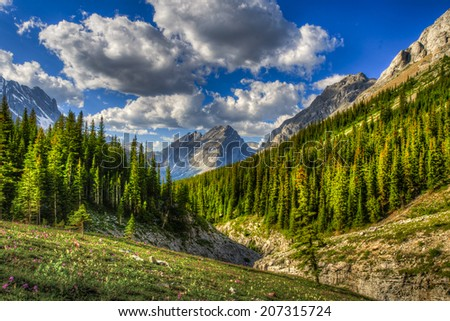 Scenic mountain hiking views, Rae Glacier and Elbow Lake area, Peter Lougheed Provincial Park, Alberta Canada - stock photo