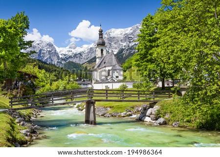 Scenic mountain landscape in the Bavarian Alps with famous Parish Church of St. Sebastian in the village of Ramsau, Nationalpark Berchtesgadener Land, Upper Bavaria, Germany - stock photo