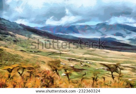 Scenic mountain landscape of african tribal houses at valley painting - stock photo