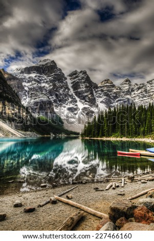 Scenic Mountain Landscape of Moraine Lake and the Valley of Ten Peaks, Banff National Park Alberta Canada - stock photo