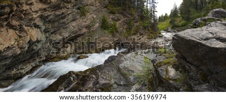 Scenic Mountain river and waterfalls, Waterton National Park Alberta Canada - stock photo