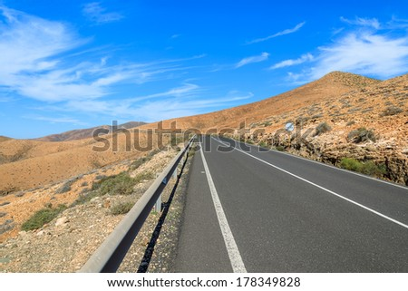Scenic mountain road from Betancuria to Pajara, Fuerteventura, Canary Islands, Spain