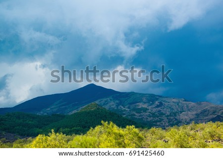 Scenic mountain view of the volcano