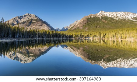 Scenic Mountain views, Buller Pond, Kananaskis Country Alberta Canada - stock photo