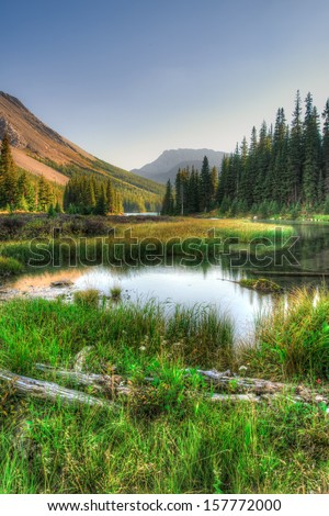 Scenic Mountain Views, Elbow Lake area, Peter Lougheed Provincial Park, Alberta Canada - stock photo