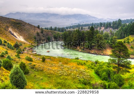 Scenic mountain views from Iconic Yellowstone National Park, Wyoming USA - stock photo
