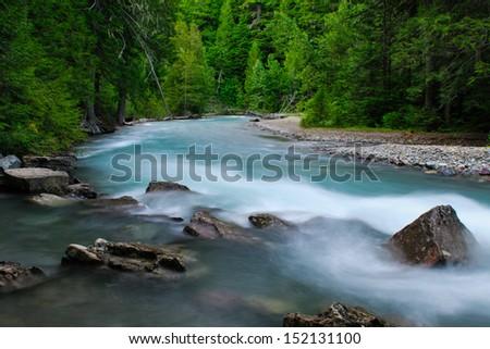 Scenic mountain views, Glacier National Park Montana USA - stock photo