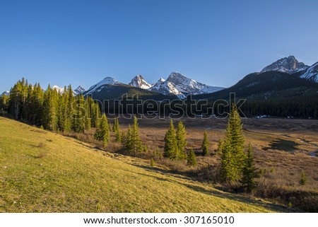Scenic Mountain views Kananaskis Country Alberta Canada - stock photo