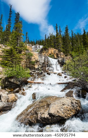 Scenic Mountain waterfall, Tangle Falls Jasper National Park Alberta Canada - stock photo