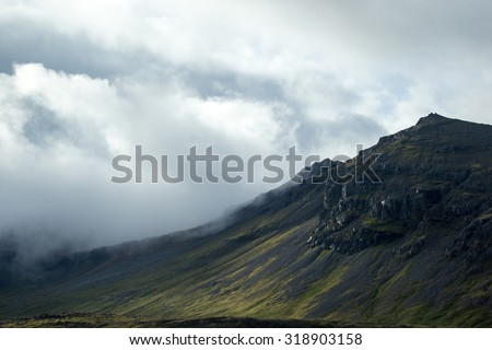 scenic mountainscapes in Iceland - stock photo