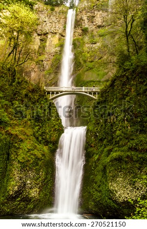 Scenic Multnomah Falls along the Columbia River in the Columbia River Gorge Oregon