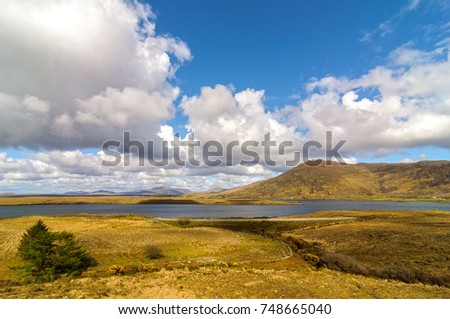 scenic nature connemara landscape from the west of ireland. epic irish rural countryside from county galway along the wild atlantic way