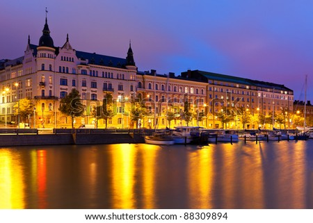 Scenic night panorama of the Old Town in Helsinki, Finland - stock photo