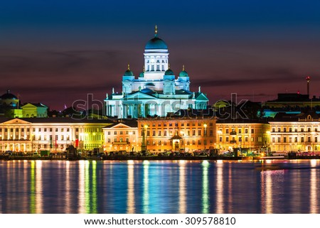 Scenic night view of the Old Town architecture and pier with Market Square and Lutheran Christian Cathedral Church at the Senate Square in Helsinki, Finland - stock photo