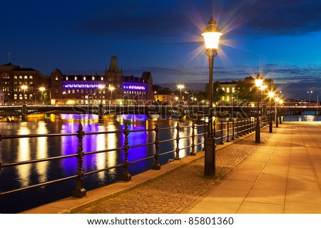 Scenic night view of the Old Town (Gamla Stan) in Stockholm, Sweden - stock photo