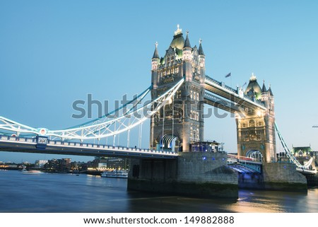 Scenic night view of Tower Bridge in all its magnificence - London - UK - stock photo