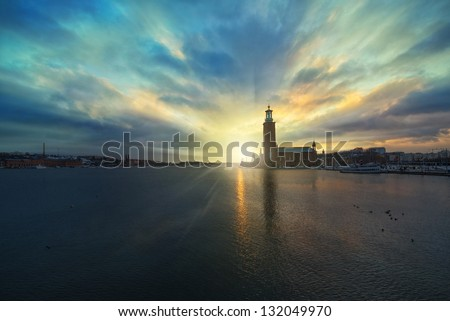 Scenic night view or sunset view of the City Hall in the Old Town, Stockholm - stock photo