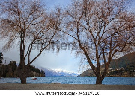 scenic of lake wakatipu important traveling destination in queentown south island new zealand - stock photo