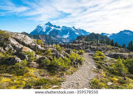 scenic of path way face to mt Shuksan on the day,summer,Washington,USA. - stock photo