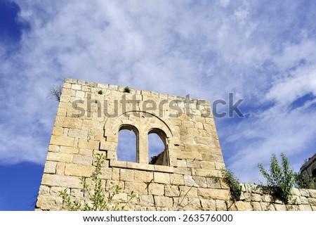 Scenic old ruins of deserted Lifta village near Jerusalem, Israel. - stock photo