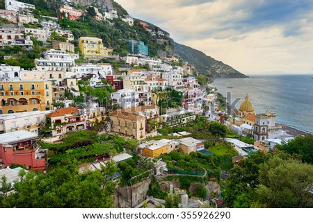 Scenic ostcard view of the beautiful town of Positano at famous Amalfi Coast with Gulf of Salerno, Campania, Italy  - stock photo