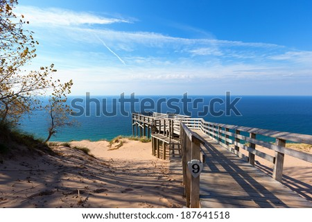 Scenic Overlook #9 at Sleeping Bear Dunes National Lakeshore. This overlook offers a stunning vista of Lake Michigan - stock photo