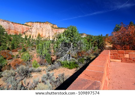 Scenic overlook at Zion National Park in Utah - stock photo